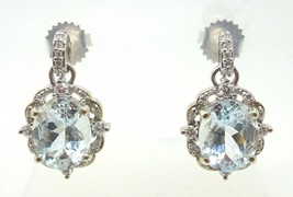 14k Gold 5.12ct Oval Genuine Natural Aquamarine Earrings with Diamonds (... - $1,645.88