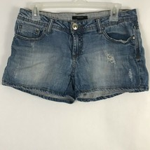 Forever 21 Womens Size 27 Blue Denim Stretch Cotton Distressed Jean Shorts - $13.97