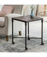 Square Reclaimed Wood End Table Industrial Farmhouse Metal Base Wheels - $156.78