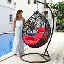 Island Gale Hanging Basket Chair Outdoor Front Porch Furniture with Stan... - $498.98