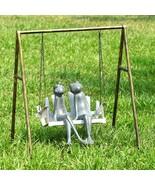 Frog Friends On Porch Swing Garden Sculpture Aluminum Patio Outdoor Stat... - $250.00