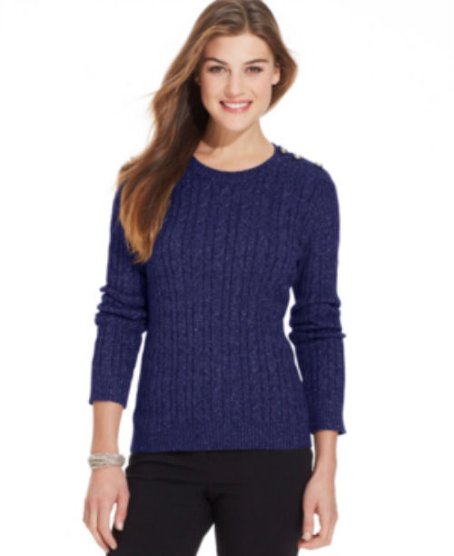 Charter Club Petite Alaskan Sky Cable Knit Button Sweater Petite-Medium - $16.42