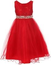Flower Girl Dress Glitters Sequin Top Rhinestone Sash Red MBK 340 - $47.99