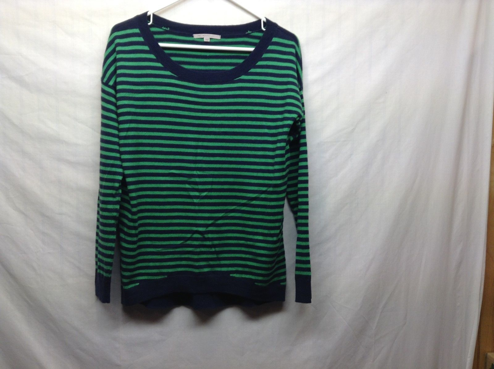 Ladies Blue Green Horizontally Striped Lt Weight Scoop Neck Sweater by GAP