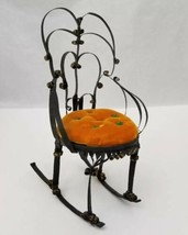 "Vintage Rocking Chair Pin Cushion Handmade Tin & Orange Velvet 6.5""x3.5""  - $15.92"