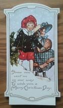 VINTAGE HALLMARK CHRISTMAS GREETINGS CARD ~2 OLD-FASHIONED CHILDREN ~SPO... - $3.70