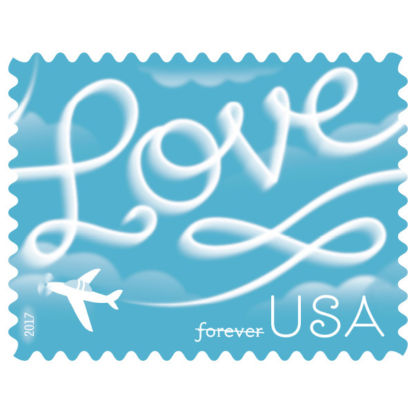 USPS 2017 Sheet of 20 Forever Stamps. Love Skywriting