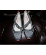 MERRELL Mary Jane Ceylon Monument Gray Red Strap Flats Shoes Size 8 Wome... - $36.45