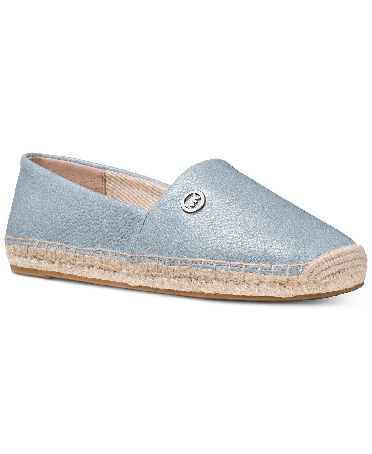 Michael Kors MK Women's Kendrick Leather Slip On Flats Shoes Pale Blue