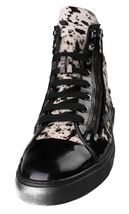Versace Collection Black Pony Hair Patent Leather HI-Top Zip-Up Fashion Sneaker image 5