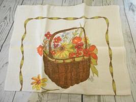 Vintage 1983 Linen Calendar Floral Basket Tea Towel - $11.33