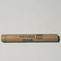 VINTAGE TEXAS ROUTE 66 WOOD WOODEN TUBE CYLINDER TOOTHPICK HOLDER  - $16.82