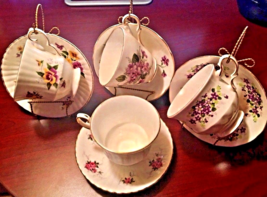 Tea Cup & Saucer Vintage 4 Sets, 3 Display Stands made in England Collec... - $39.99