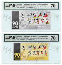 MICKEY MOUSE 90TH ANNIVERSARY - SILVER & GOLD COIN NOTE - PMG 70 FIRST R... - $346.49