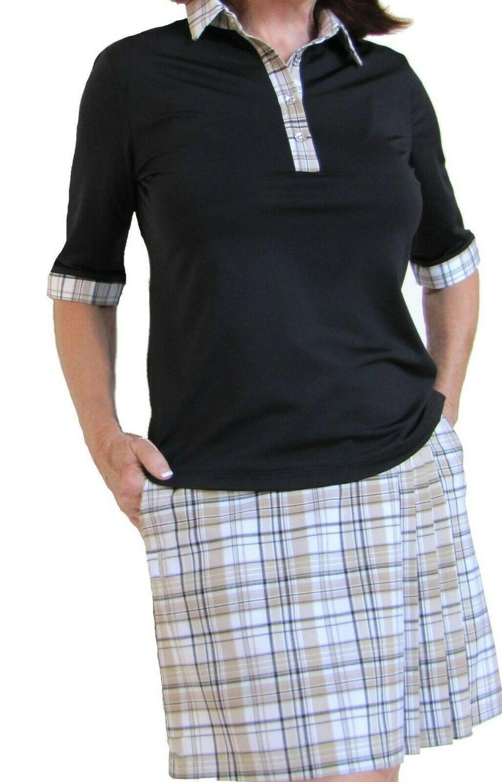 Stylish Women's Golf & Resort Black Long Sleeve Collar Top, Swarovski Buttons  image 4