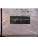 Kensie Home White/Gray Sheep on Pale Pink Microfiber Sheet Set Twin - $42.00