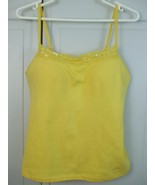 Style & Co Yellow Cotton Crochet Stretch Sexy Build in Bra Halter Top St... - $9.75