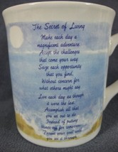 THE SECRET OF LIVING Coffee Mug 10oz Ceramic Russ Berrie Inspirational  - $17.95