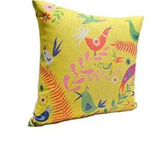 Retro Style Plants And Birds Pattern Home Furnishing Pillow / Cushion