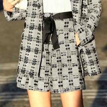 Amii Minimalist Tweed Two Pieces Set Autumn Office Lady Loose Lapel Blazer MIni  image 6
