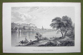 GERMANY Pirna & Castle of Sonnenstein - 1820s Copper Engraving by Cpt. B... - $16.20