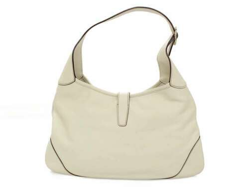 GUCCI Jackie Shoulder Bag Leather Ivory Brown Web 153029 Italy Authentic 5403592