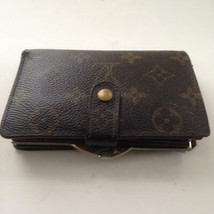 Louis Vuitton Mono Brown Ladies Kisslock Compact Wallet 5.5inx3.5in (MI0... - $189.95