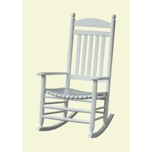 Outdoor Rocking Chair with Slatted Backrest White Classic Porch Relaxing... - $104.89