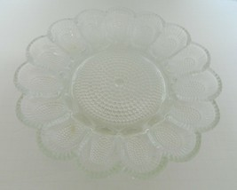 Indiana Glass Clear Pressed Glass Devil Egg Dish Shell Hobnail Holds 15 Halves - $19.68