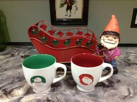 PAIR OF CHRISTMAS HOLIDAY OVERSIZED MUGS WITH TIN SLEIGH HOLDER - $9.99