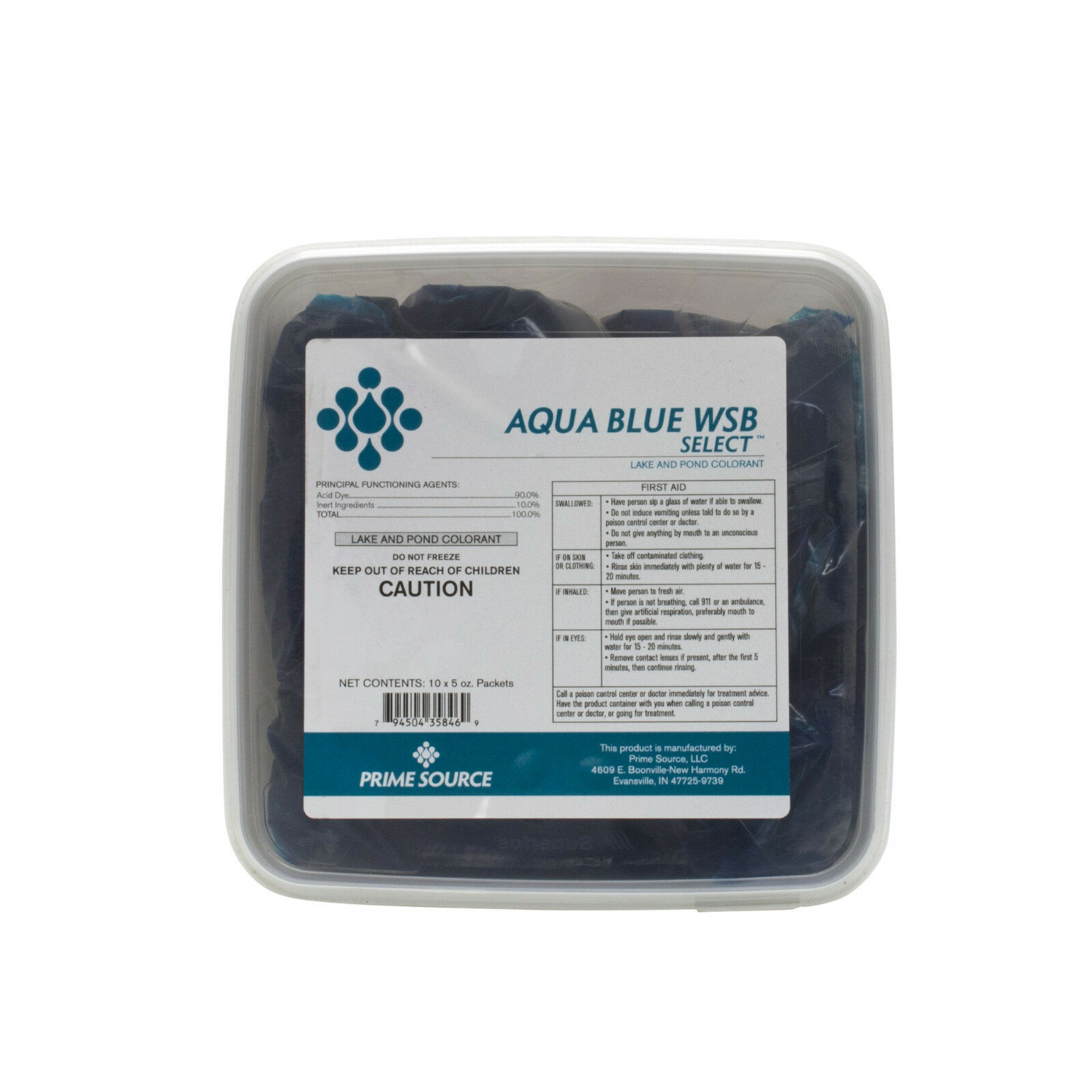Primary image for Prime Source Aqua Blue WSB Colorant Blue Dye For Ponds Lakes (10 x 4 oz packets)