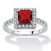 Princess-Cut Birthstone .925 Silver Halo Ring-July-Simulated Ruby - €33,21 EUR