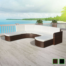 vidaXL Patio Wicker Rattan Garden Set Outdoor Sofa Lounge Couch Brown/Black - $446.99+