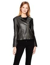 Calvin Klein Womens Jet Black PU Leather Asymmetric Seaming Biker Moto Jacket M - $79.99