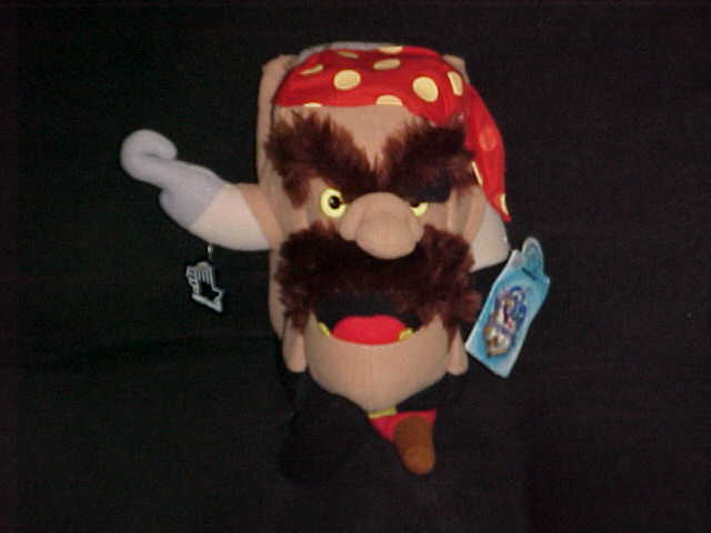 """11"""" Adventure Pirate Hook Plush Toy With Tags From Pagemaster by Applause 1994"""