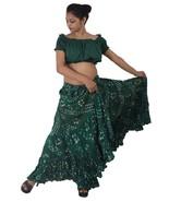 GREEN Cotton JAIPUR 25 Yard 4 Tier Gypsy Skirt American Belly Dance Polk... - $48.63