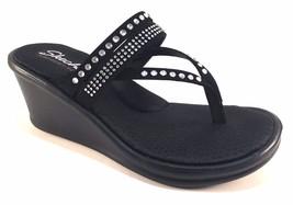 Skechers 38559 Black Memory Foam Wedge Platform Thong Dress Slip On Sandals - $49.00