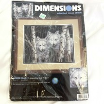 White Magic Wolves in Woods Cross Stitch Kit Dimensions 14x11 Complete Kit - $17.81