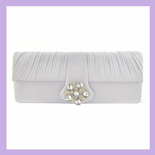 Rhinestone Decorated Satin Evening Bag Silver With Chain Strap