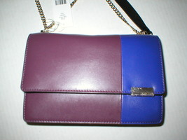 New NWT Trina Turk Designer Handbag Red Purple Tan Leather Flap Silver W... - $328.00