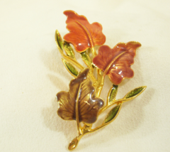 KC Enamel Fall Leaves Brooch Pin Gold Plate Layered Copper Tan Vintage E... - $14.80