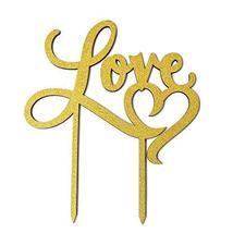 Love Heart Wedding Glitter Cake Topper, 7-Inch #PS_17566 (Gold) - $16.43