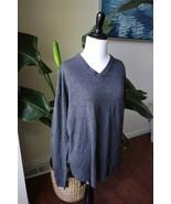 oscar de la renta 100% acrylic v-neck sweater women L Large Gray - $18.99