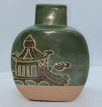 Japanese Vintage Green Terracotta Glazed  Pottery Vase w/Japanese Temple... - $20.80