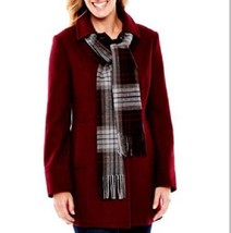 New St. John's Bay Women Wool Blend Coat With Scarf Burgundy Size L Msrp... - €75,86 EUR