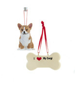 Corgi with Dog Bone Ornament Set - $18.95