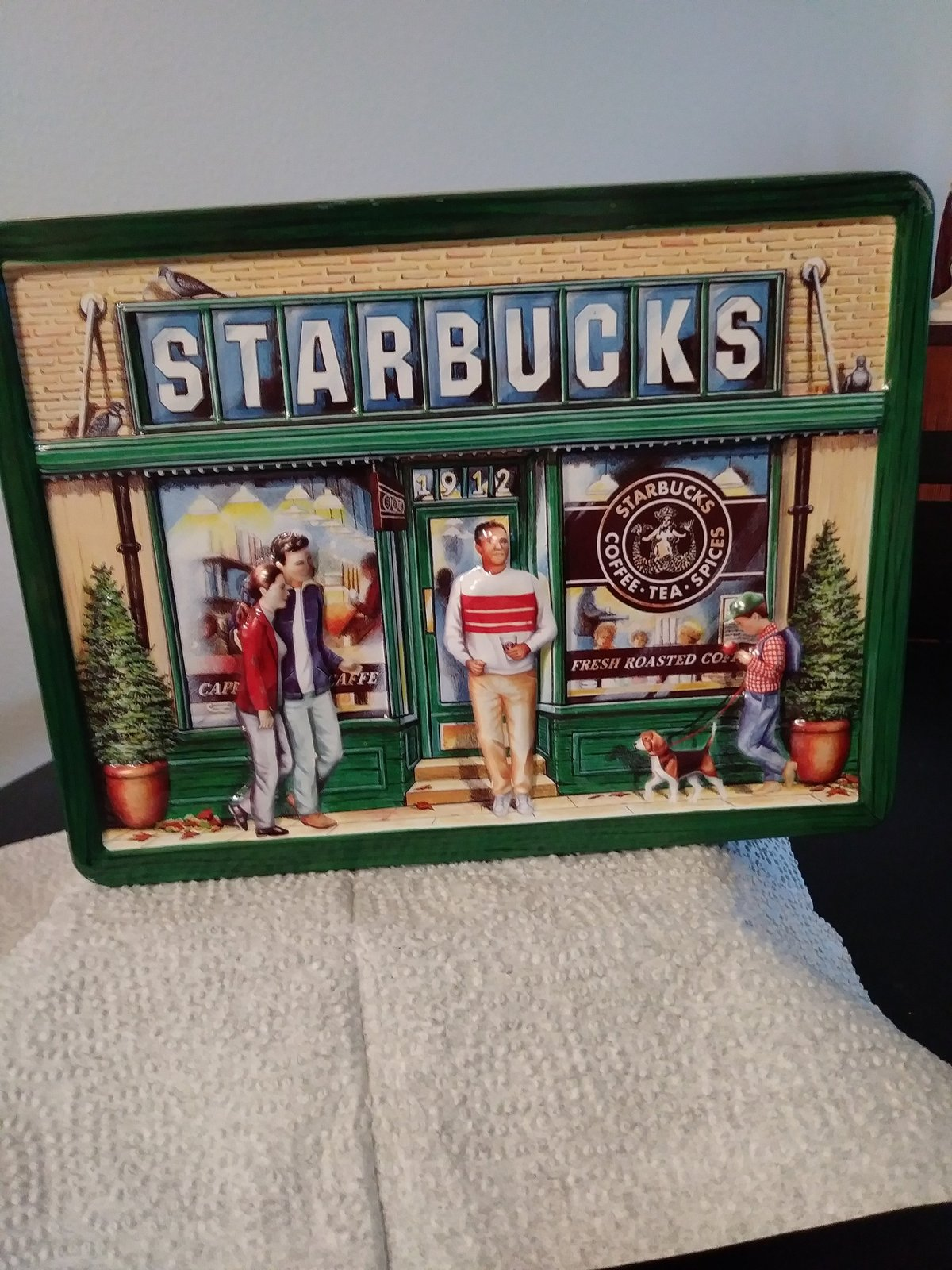 Starbucks Coffee Store Large Cookie Tin ©1999  Repousse/Lid, First Store Seattle