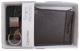 Calvin Klein CK Men's Leather Key Fob Money Clip Cardfold Wallet Brown 79536