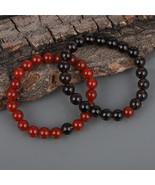Couple Bracelet, Red Onyx & Smoky Quartz Gemstone 8.5 MM Beads Stretch Bracelet. - $27.99 - $31.99