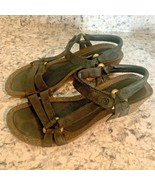 TEVA BLACK SMOKE SUEDE STRAPPY CORK LOW HEEL womens sandals 8 - $24.70
